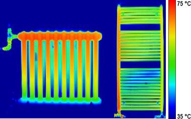 Obr. 7 Porovnání střední povrchové teploty při náběhu článkového tělesa Kalor 500/110–10 a trubkového tělesa Koralux 1200×600 včase T=10minut (tdolníindexm,Kalor=56,1°C; tdolníindexm,Koralux=51,8°C)