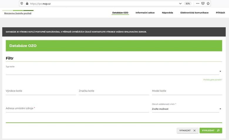 Obr.1 úvodní strana Databáze pro zadání základních údajů