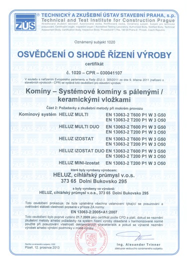 Obr. Příklad certifikátu komínového systému